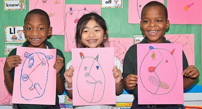 First-graders at St. Helen School show their