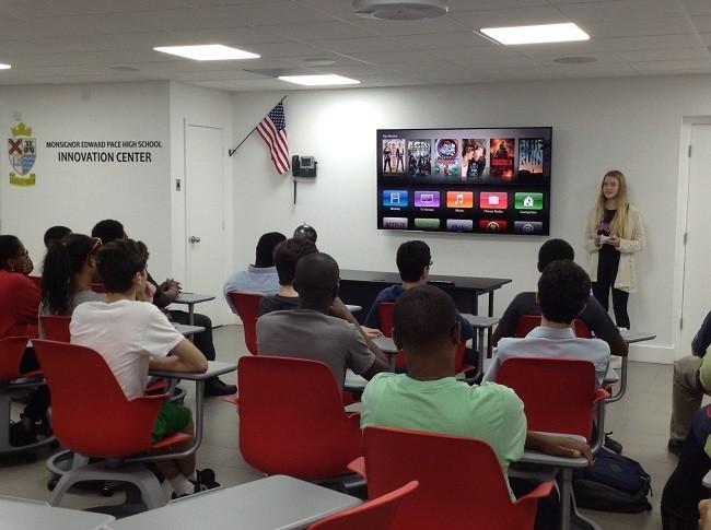 Olina Helga Sverrisdottir speaks to Pace students inside Msgr. Pace High School's Innovation Center.
