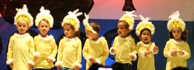 Blessed Trinity PK-3 students dance and sing