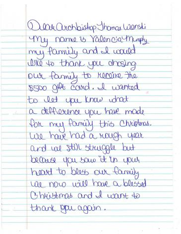 1450234390247915215354g first page of thank you letter from valencia murphy to archbishop thomas wenski after receiving a 500 heart of christmas gift card expocarfo